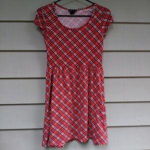 Red cotton skater dress